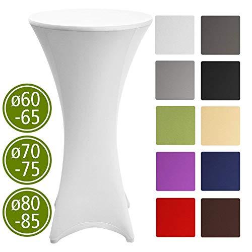 Beautissu Housse de table de bistrot - Mange debout - Deco Cocktail - Stretch spandex - Stella - 60-65cm - Blanc