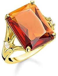 Thomas Sabo Femme Bague Pierre Orange Grande avec étoile Argent Sterling 925, Doré Or Jaune 18 Carats TR2261-971-8