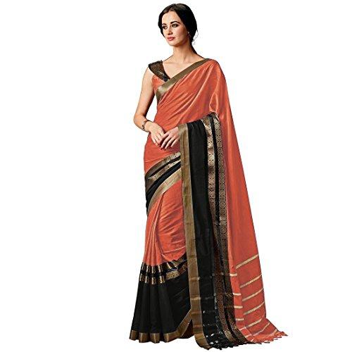 Art Décor Sarees Women\'s Orange Color Cotton Silk Plain Saree With Blouse