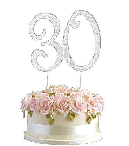 Strass Geburtstag Jahrestag Kuchen-Deckel Nummer 30. Diamante Edelstein -Dekoration Pick - 30 (18 Geburtstag-kuchen-deckel)