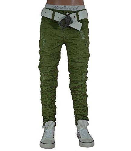 ST-011 SQUARED & CUBED Jeans Hose Junge Kinder grün 104-158 (14 (ca.152-158), grün) (Kinder Jeans Grün)