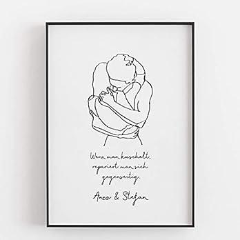 Geschenk Freundin Freund zum Jahrestag Valentinstag Hochzeitstag Jahrestagsgeschenk für sie ihn Mann Frau Wenn man kuschelt repariert man sich gegenseitig Kunstdruck Poster Bild – ungerahmt