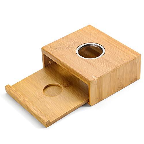 LENRUS Stövchen Teewärmer Kaffeewärmer aus Bambus, Teelicht und Teekanne ist Nicht enthalten