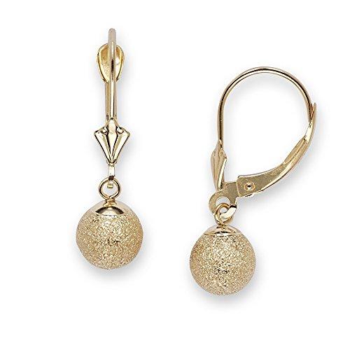 14K Giallo Oro Medio Laser-Cut orecchini pendenti a sfera-Misure 24x 7mm, JewelryWeb