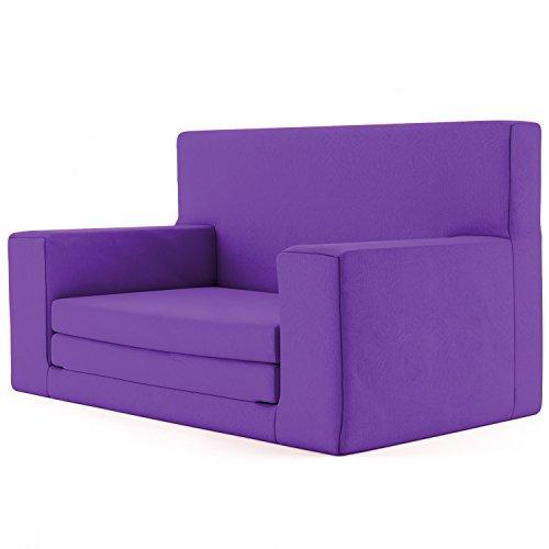 2 in 1 Kindersofa in Lila mit Waschbarem Überzug -Weich & Sicher Ausklapp Spielzeug Sessel Möbel Couch mit Bettfunktion Schlaf Matratze zum Auffalten für Kinder von 1-4