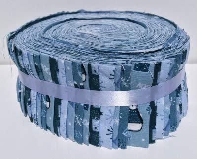 Fabric Freedom Jelly Roll FFJR10 Stoff-Quilting-Set, 40 Streifen (8 je 5 Designs), je 6 x 110 cm, Blau/Grau (Quilten Stoff Jelly Rolls)