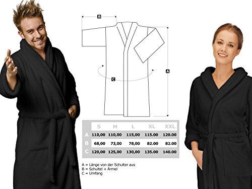 Bademantel für Damen und Herren - Kuschelfleece mit Schalkragen - erhältlich in 6 modernen Farben und 5 Größen - für Damen und Herren - klassisch elegantes Design - wadenlang geschnitten, XL, bordeaux schwarz