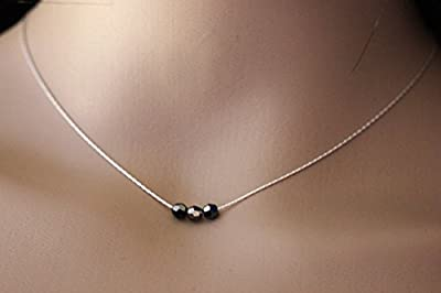 Collier en argent massif 3 perles noires en cristal Swarovski