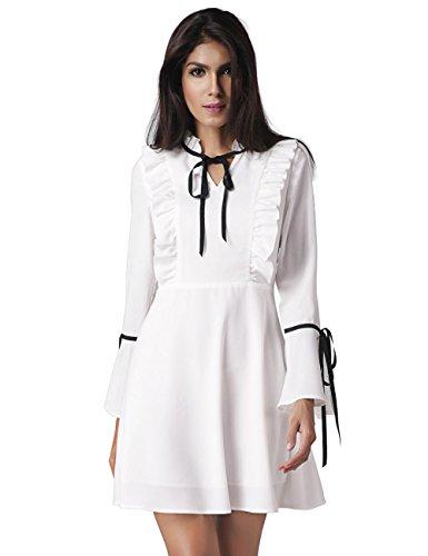 Damenmode sexy Trompete Ärmel Kleid flouncing , white , xxl (Kragen Denim Einreiher)