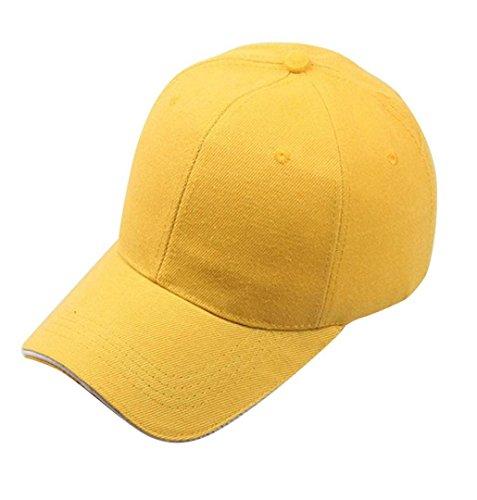 ZEZKT-Zubehör❤️Einfarbig Einfach Baseball Cap Hut Unisex Damen Herren Trucker Kappe Mesh Baseball Cap Snapback Schwarz Baseball Cap Snapback Hut (Gelb)