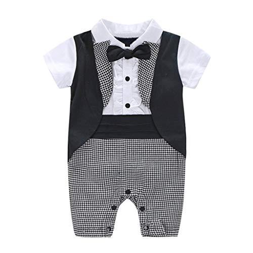 EUCoo_ Kinder Babymode Kinderkleidung Kurze, Britischer Stil, Hahnentritt, Fliege, Gentleman, Smoking, Overall, Kunstfoto (6-24 Monate)(95) - Grau Hahnentritt Wolle