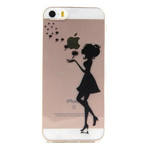 iPhone 5S Hülle Case,iPhone SE Hülle Case,Gift_Source [Feather] [AIR CUSHION] [Capsule] Premium Flexible Soft TPU Gel Silicone Skin Slim Hülle Case Cover Scratch-Proof Protective Hülle Case für iPhone E01-08-Dandelion Girl