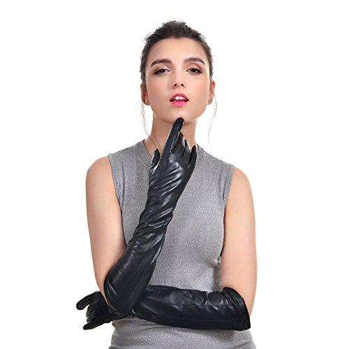 VEMOLLA Damen Luuriöse Echte Leder-Handschuhe Um Nachricht Zu Versenden (Wolle Im Innern) Schwarz Size 6.5 (Sexy Lange Handschuhe)