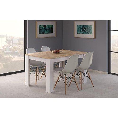 KENDRA Table a manger extensible de 6 a 8 personnes style contemporain mélaminée blanc brillant et décor chene   L 140 190 x l 9
