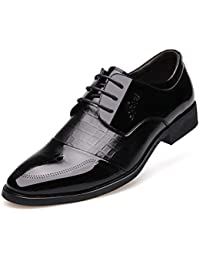 7ae0ec5bc3d17 Calzado de los Hombres Vestido de Traje de Cuero Puntiagudo Vestido con  Cordones Bajo Calzado de Trabajo Informal Resistente al…