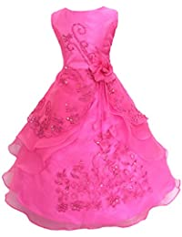 Free Fisher Robe Cérémonie Fille Costume Mariage/soirée Fleurs Broderie