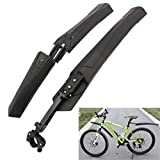 QHJ Fischer Spritzschutz-Set,Mountain Bike Cycling Bicycle Bike Front Rear Mud Guards Mudguard Fenders Set (Schwarz)
