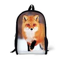 School Backpack, Fox Print for Age 6-16 Kids Girls Boys Book Bag 17 Inch ...