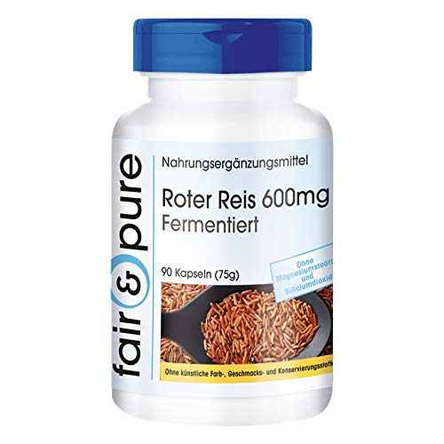Roter Reis 600mg mit 4,5mg Monacolin K pro Kapsel, fermentierter Roter Reis, vegan, ohne Magnesiumstearat, 90 Kapseln