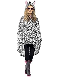 Adult Fancy Dress Zebra Party Poncho Animals & Nature Club Festival Top