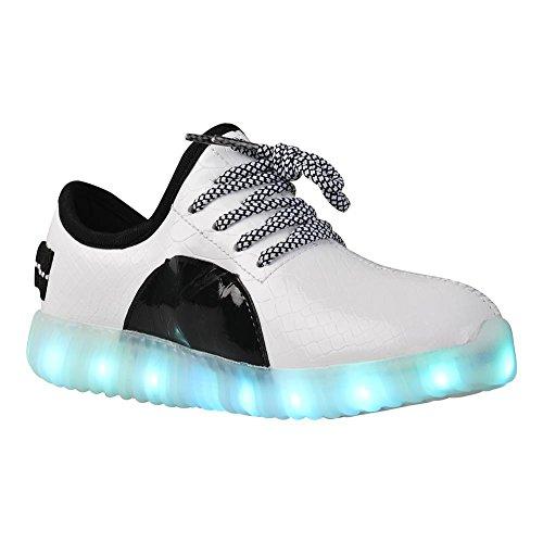 QANSI 7 Couleur LED Chaussure Unisexe Enfant USB Charge 7 Couleur Lumière Chaussures de Sports Baskets pour Garçons et Filles NoirBlanc