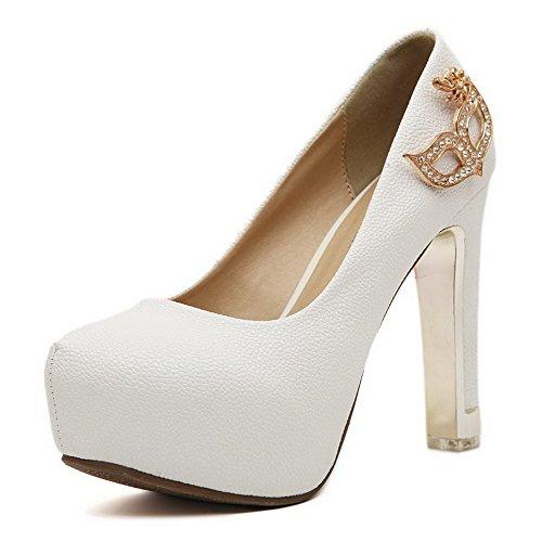 AllhqFashion Femme Tire Rond à Talon Haut Couleur Unie Chaussures Légeres Blanc