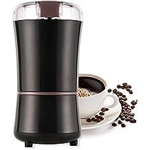 AONCO Molinillo de café eléctrico, [Fuerte 300 vatios] Granos de café, nuez y molino de especias [Hojas de acero inoxidable] Capacidad de 100 g - Negro