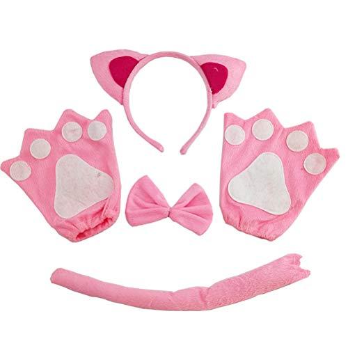 Amosfun 5-teiliges Katzen-Set mit Ohren, Stirnband, Fliege, Handschuhe, Schwanz, Tierkostüm, Party-Requisiten (Kostüm Party Themen Für Jugendliche)