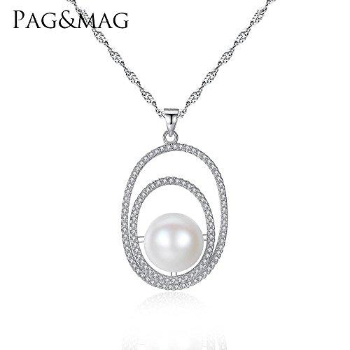 Haixin S925 collier en argent Sterling pendentif 1,2 mm naturel d'eau douce perles antiallergique s925 argent sterling collier chaîne longueur 42 cm + 3 cm