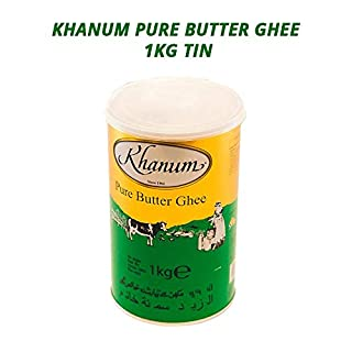 Khanum Butter Ghee | Clarified Butter | Secret Ingredient for Indian Cooking | Ideal for Sautéing, Braising, Pan-Frying and Deep-Frying | All-Natural | Lactose-Free | Paleo | Salt-Free | 1KG Tin