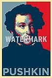 Alexander Pushkin Kunstdruck (Obama Hope Parodie) Hochglanz Foto Poster - Maße: 91 x 61 cm