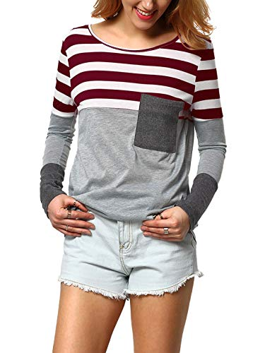 DIDK Damen Cut Und Sew T-Shirt Gestreift Larngarmshirts Farbblock Langarm Oberteil Rundhals Bluse Tops Weinrot XL