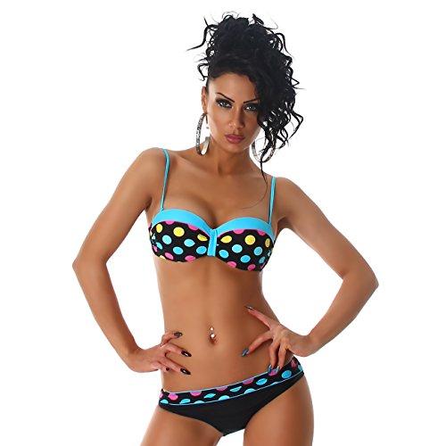 PF-Fashion Damen Push-Up Bikini Punkte Träger Slip verstellbar Hüftslip Türkis