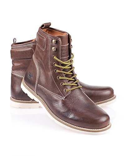 Mustang Shoes - Stiefel aus braunem Leder Schnürsenkel Gelb Braun