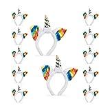 12x Einhorn Haarreif im Set, Kopfschmuck für Kinder, mit Ohren und Horn, Regenbogen, Glitzer, Fasching, weiß-bunt