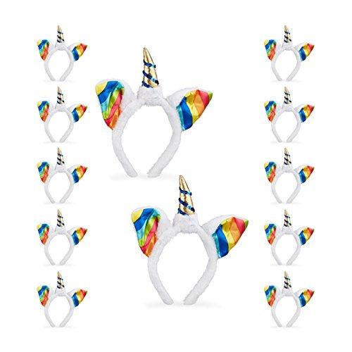 12x Einhorn Haarreif im Set, Kopfschmuck für Kinder, mit Ohren und Horn, Regenbogen, Glitzer, Fasching, weiß-bunt (Witzig Droge Kostüm)