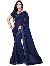 Riva Enterprise Women'S Georgette Saree With Blouse Piece (Riva17_Blue)
