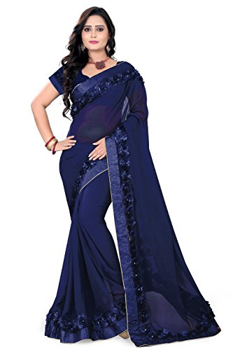 Riva Enterprise Women's Georgette navy blue color saree with blouse (Riva_17)