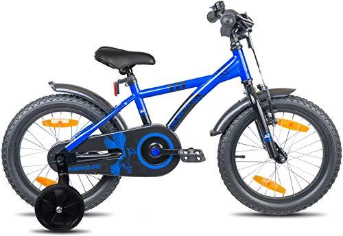 Prometheus Bicicletta per Bambini e Bambine da 5 Anni nei Colori Blu e Nero da 16 Pollici con rotelle e contropedale – BMX da 16″ Modello 2019 - 3