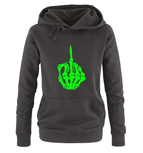 Comedy Shirts - FUCK SKELETON - Donna Hoodie cappuccio sweater - taglia S - XL different colors nero / neon verde