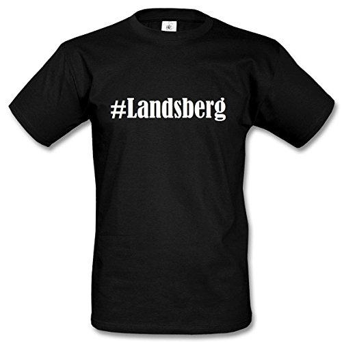 T-Shirt #Landsberg Hashtag Raute für Damen Herren und Kinder ... in den Farben Schwarz und Weiss Schwarz
