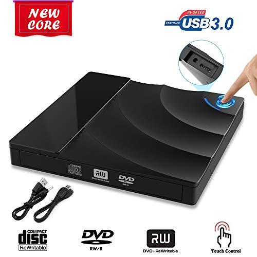 Grabadora DVD Externo, USB 3.0 Lector CD DVD Regrabadora Disco para PC Windows7/8/10,Linux,Mac OS