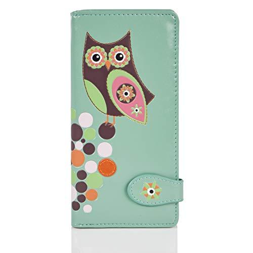 Shagwear Junge-Damen Geldbörse, Large Purse: (Eule Hell-Aquamarin/Retro Owl)