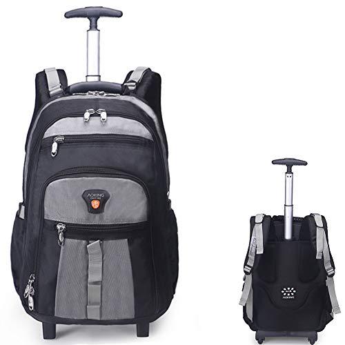 GLLSZ Wheeled Laptop Backpack di Rotolamento Scuola Impermeabile Laptop Bag Libro, Esterno Verticale Carry-On con/Zaino Si Adatta 26.2/28.9 inch Laptop Perfetto per I Viaggi,Grigio,28.9inches