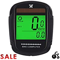 Pasas Bike Computer Bicycle Wireless Speedometer and Odometer Waterproof Backlight with Digital LCD Display for Outdoor Cycling and Fitness Multi Function Gifts for Bikers/Men/Women/Teens