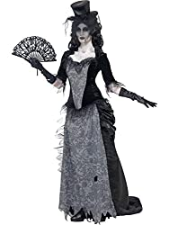Smiffy's Women's Ghost Town Widow Costume with Top Skirt Hat, Black/Grey, Large
