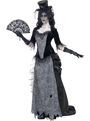 Smiffys Damen Geister Schwarze Witwe Kostüm, Oberteil, Rock und Hut, Größe: L, 24575 (Frauen Schwarze Halloween-kostüme)