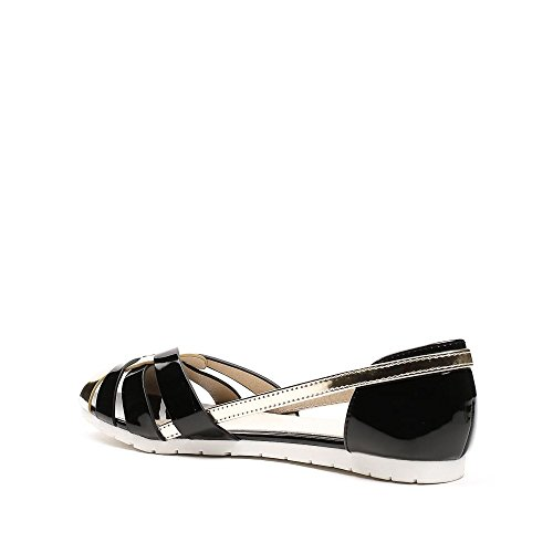 Ideal Shoes - Ballerines semi-ouvertes vernis Solea Noir