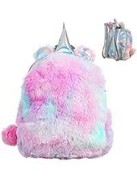 Bolsa Niñas Mini Mochila Unicornio Lindo Escuela De La Felpa del Morral del Recorrido del Unicornio