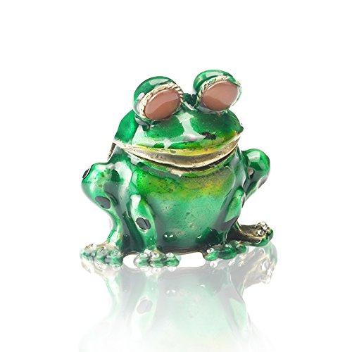 H & D Schmuck Box Frosch Scharnier Schmuckkästchen ring Halter Tier Figur Sammlerstück Geschenk für Mädchen, 2.1*2IN little frog (Frosch-figuren Sammlerstücke)